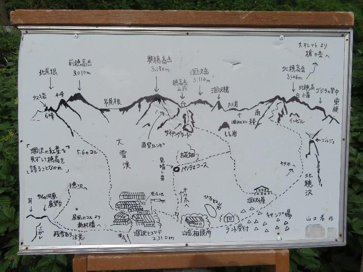 画像:手書きで書かれた、涸沢カールとそこから見える山々などの立て看板がありました。